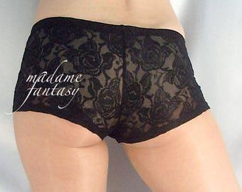 Black lace micro mini shorts hot pants