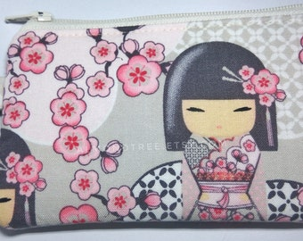 Kokeshi, Japanese doll sakura key ring zip coin purse, portefeuille women wallet portemonnaie cardholder id180411, gift travel organizer
