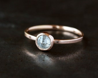 Icy Rose Cut Diamond Ring, 14k Rose Gold Band, Salt and Pepper Natural Color Diamond, Unique Engagement Ring, Conflict Free, Pink Gold Ring
