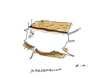 Marshmallow Cat - Smore Cat Print- Funny Cat Art