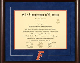 "University of Florida Diploma Frame with italicized ""F"""