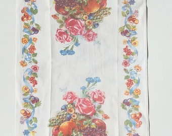 Vintage Towel Roses & Fruit w Blue Ribbons and Bows Cherries Retro Kitchen