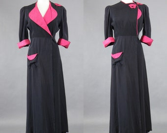 Vintage 1940s Dressing Gown, 40s Loungewear, 1940s Navy Silk and Magenta Robe, Old Hollywood, Medium