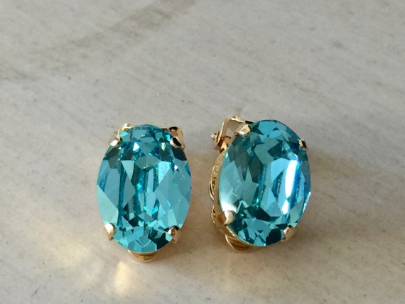 Oval Light Turquoise Swarovski Crystal Clip On Earrings, Yellow Gold