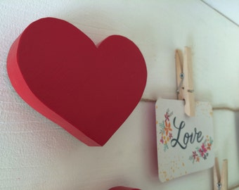 Heart Art Display Clips, Heart Art Cable, Red Heart, Wooden Heart, Heart Picture Display Line, Love, eco friendly