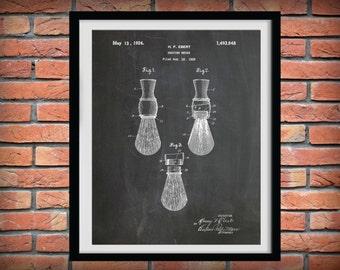 1924 Shaving Brush Patent Print - Bathroom Decor - Shaving Poster - Barber Shop Decor - Barber Gift Idea