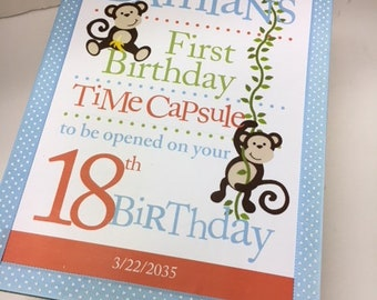 1st Birthday Time Capusule Keepsake box - Monkey Theme