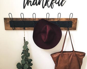 Thankful Wood Word Cut-Out | Laser Cut Letter Cut-Out | Wall Hanging | Home Decor