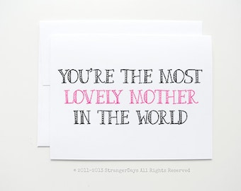 """Mothers Day Card """" Lovely Mother """" Greeting card. I love you mom. Birthday Card for mom"""