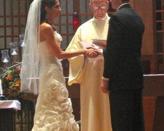 Fingertip Short  Wedding Veil bridal single layer white, ivory or diamond