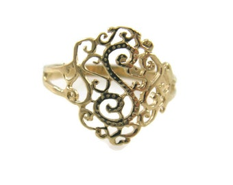 Lace ring. 14k Yellow gold lace ring. Lace gold ring. Filigree ring. dainty gold ring. gold ring. gift for her. Lace jewelry.(9443-2083)