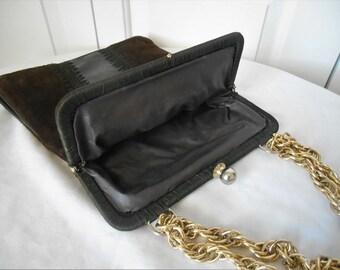 Vintage 70's Leather and crocheted shoulder bag