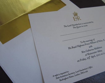 William & Kate Royal Wedding Invitation Souvenir Reproduction