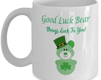 Good Luck Bear Brings Luck to You St. Patrick's Day Coffee Mug
