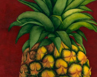 Watercolor painting...PINA COLADA...pineapple...giclee