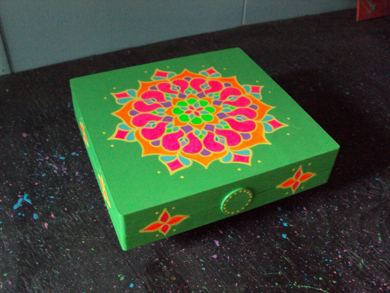 Hand Painted Wood Box Mandala Painting Bright Green Box with