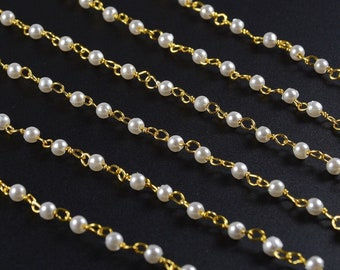 3mm Imitation Pearl Rosary Chain in Gold Plated Wire, Rosary Necklace Finding, Rosary Bracelet Finding, Gold Chain, RETAIL- 5 FT/ order