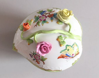 Large Herend Queen Victoria Porcelain Box Heart Shaped Roses Butterflies