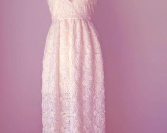 Floral Wedding Dress,Lace Wedding Dress,Backless Wedding Dress,Simple Wedding Dress,Beach Wedding Dress,Boho Wedding Dress,Romantic Wedding