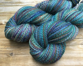 Hand Spun Hand Dyed SW Merino Nylon fingering / sock 2 ply yarn: STRATOSPHERE blue teal turquoise rust purple green sky hand spun sock yarn