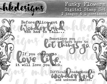 Funky Flowers Digital Stamp Set