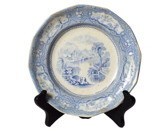 Antique T. Goodfellow Ironstone English Blue and White Plate, c1890