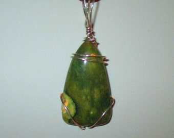 Natural Stone Jewelry:  Rainforest Jasper Sterling Silver Pendant