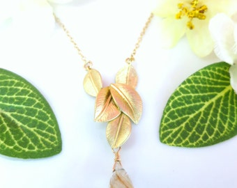 Gold Leaf Rutilated Quartz Necklace - Rustic Gold Leaf Gold Rutilated Quartz Necklace - Coachella Whimsical Gold Leaf Branch Necklace
