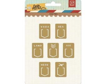 Basic Grey Carte Postale Metal Tabs - CRT4295 - Cradmaking, scrapbook embellishments