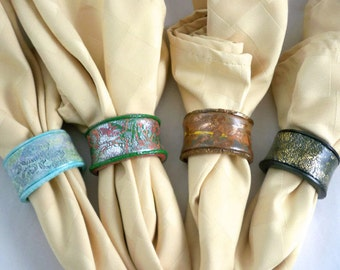 Napkin rings four seasons polymer clay over ceramic lovely colors