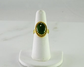 Gilt Sterling Green Stone Ring Size 6