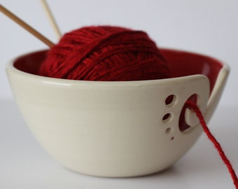 Red Ceramic Yarn Bowl, Yarn Bowl, Knitting Bowl, Crochet Bowl, Red and White Yarn Bowl, Made to Order