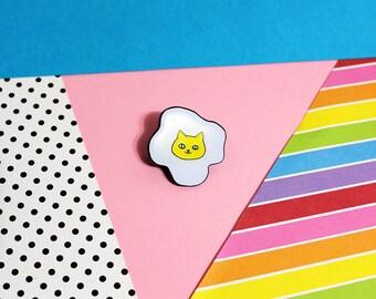 Cat Egg Enamel Pin - Soft Enamel with Epoxy Kitty Fried Egg Brooch