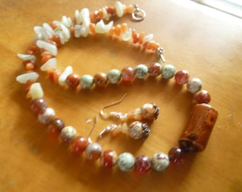 gorgeous adventurine, amazonite and jasper necklace with ceramic focal tube and matching earrings