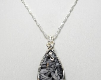 Stunning Pinolith Wire Wrapped Pendant - Wrapped in .935 Argentium Silver