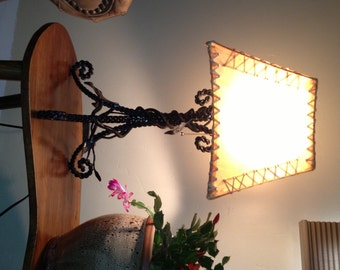 Custom Hand Forged Wrought Iron Table Lamp with Rawhide Shade