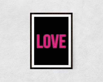 Neon Love Print   Love, Pink, Valentine, Neon, Quote Print, Nursery Print, Prints, Modern, Wall Art, Art, Prints