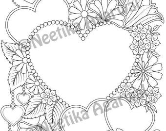 Valentine Hearts - Valentine - Adult Coloring Page - Valentine's Day Coloring Page - Printable Coloring Page - Digital Download