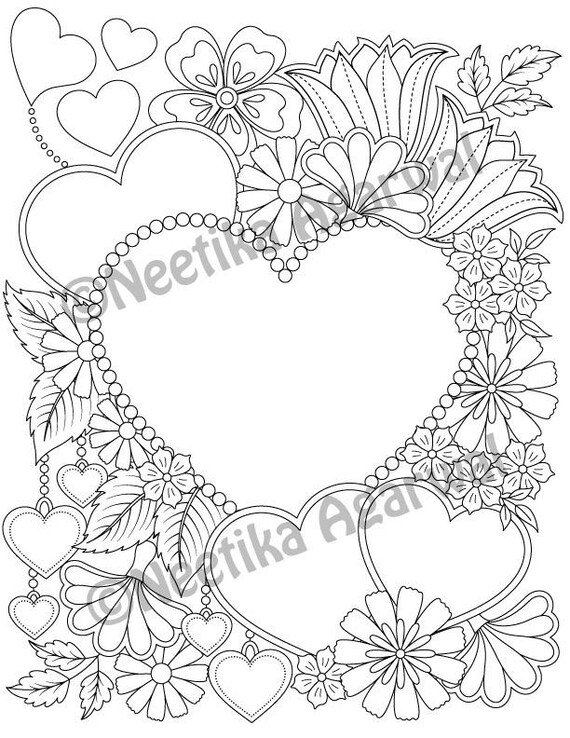 Valentine Hearts Adult Coloring Page