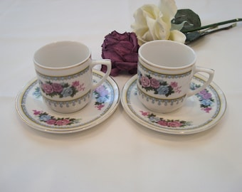Vintage C. Art HK Demitasse small te cup and saucer. set of 2, made in China,floral rose with gold trim. circa 1970.