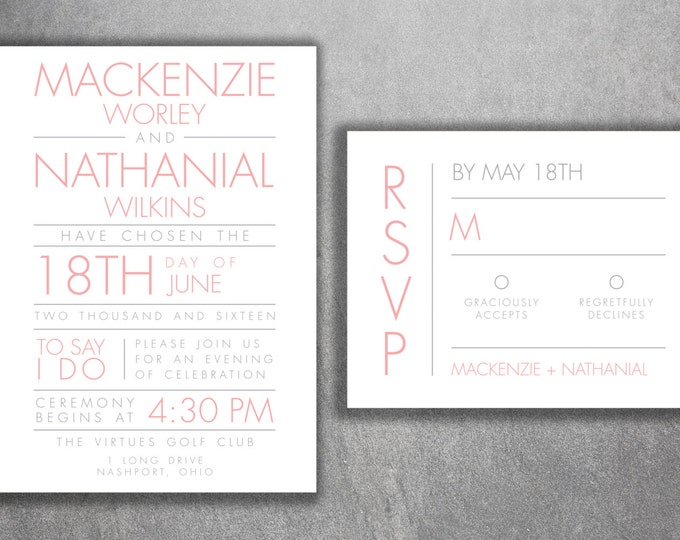 Affordable Wedding Invitations, Cheap Wedding Invites, Pink and White, Custom Wedding Invitation, Modern, Rustic Classic, Wedding Invitation