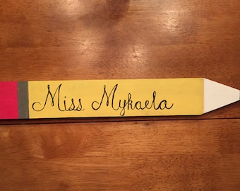 Personalized Wood Pencil Teacher Name Plate