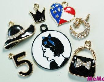 1 Set 7 Pcs Charms Alloy Medallion Ladies Hats Kawaii Bracelets Pendants Accessories Studs Cabochon Deco Den Phone Case DIY Deco kit PP049