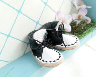 Mini Black And White Leather Lace Up Blythe Doll Boots Azone Pure Neemo M S