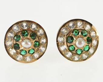 14K Victorian Sim. Emerald Rhinestone Screw Back Earrings Yellow Gold