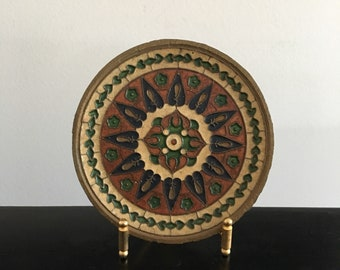 Vintage ,Turkish, Brass And Enamel Plate,Wall plate,Boho,Bohemian Decor,Turkish Plate,Wall Decor,Home Decor