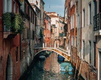 A canal in Dorsoduro, Venice, Italy. Photo Print, Metal, Canvas, Framed.