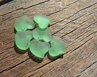 Sea Glass Small Puffed Fancy Heart Pendant Earrings 18mmx18mm-Peridot (2)