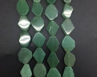 Approx 20pcs,Natural Aventurine Flat Slab drilled beads,Smooth Raw Green Aventurine Freeform Slice nugget beads pendants,14-16x16-20mm