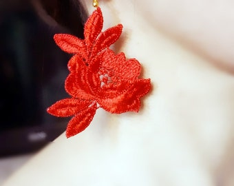 Red/black flower lace earrings //statement earrings // large charm earrings // fabric earrings // boho chic // gift for her
